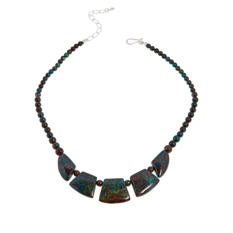 Jay King Sterling Silver Green Arizona Botanical Stone Necklace