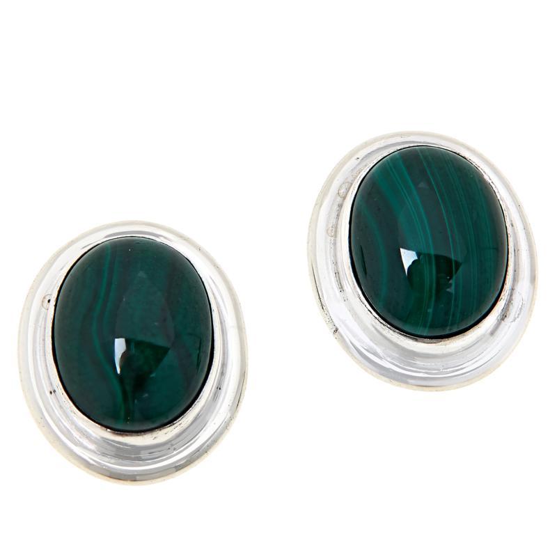 Jay King Sterling Silver Green Malachite Oval Earrings