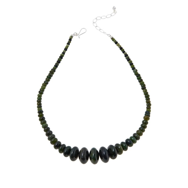 Jay King Sterling Silver Green Nephrite Jade Graduated Bead Necklace