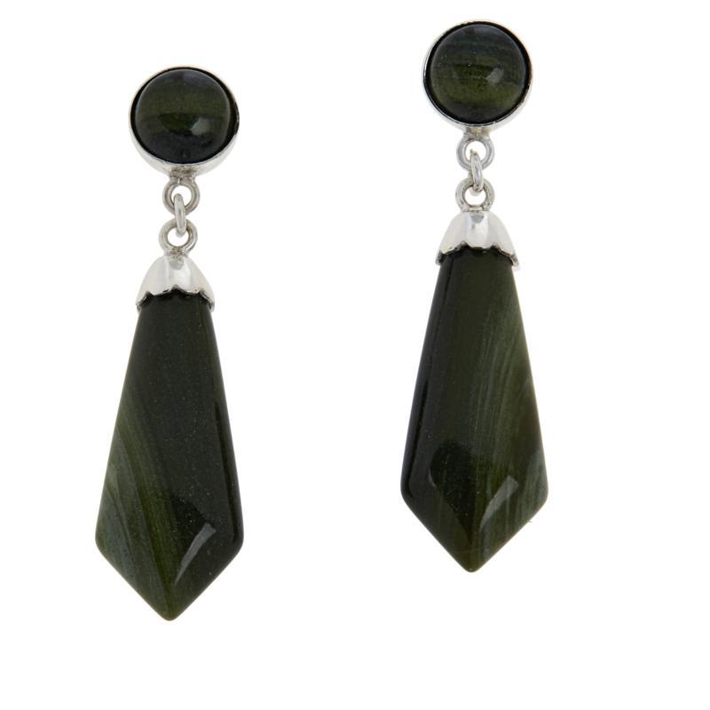 Jay King Sterling Silver Green Polychrome Serpentine Earrings