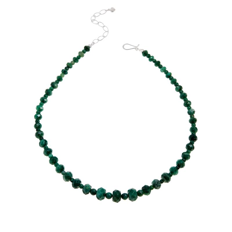 Jay King Sterling Silver Green Quartzite Bead Necklace