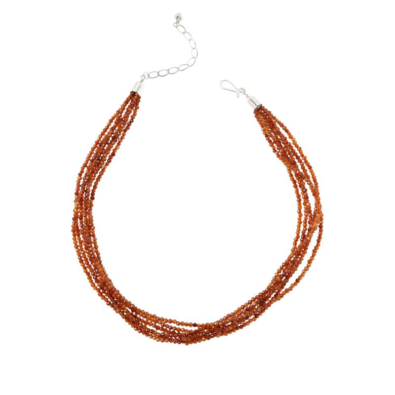 Jay King Sterling Silver Hessonite Garnet Bead 6-Strand Necklace