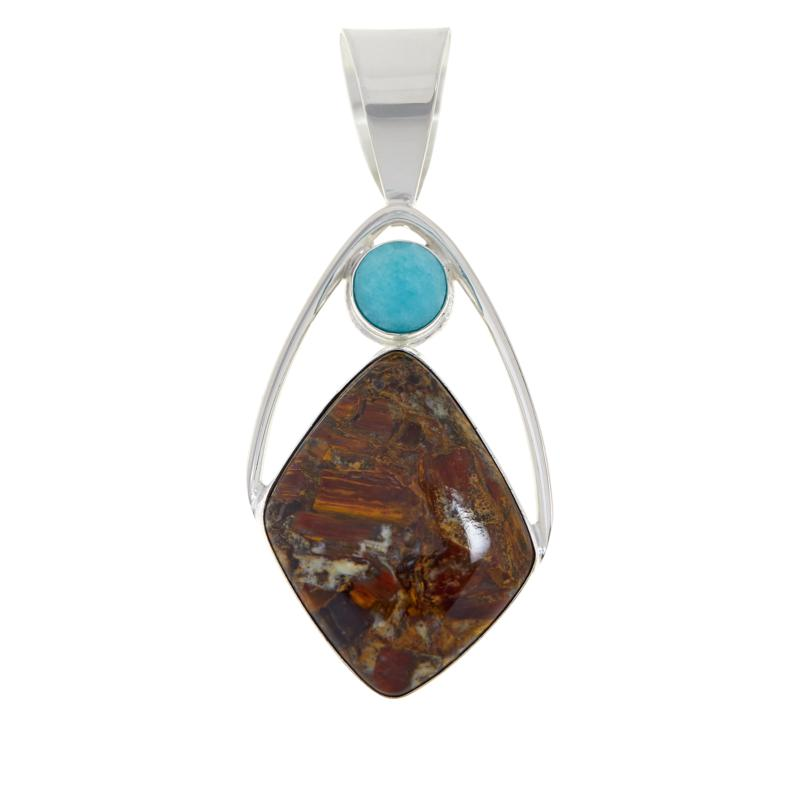 Jay King Sterling Silver Jasper and Amazonite Pendant