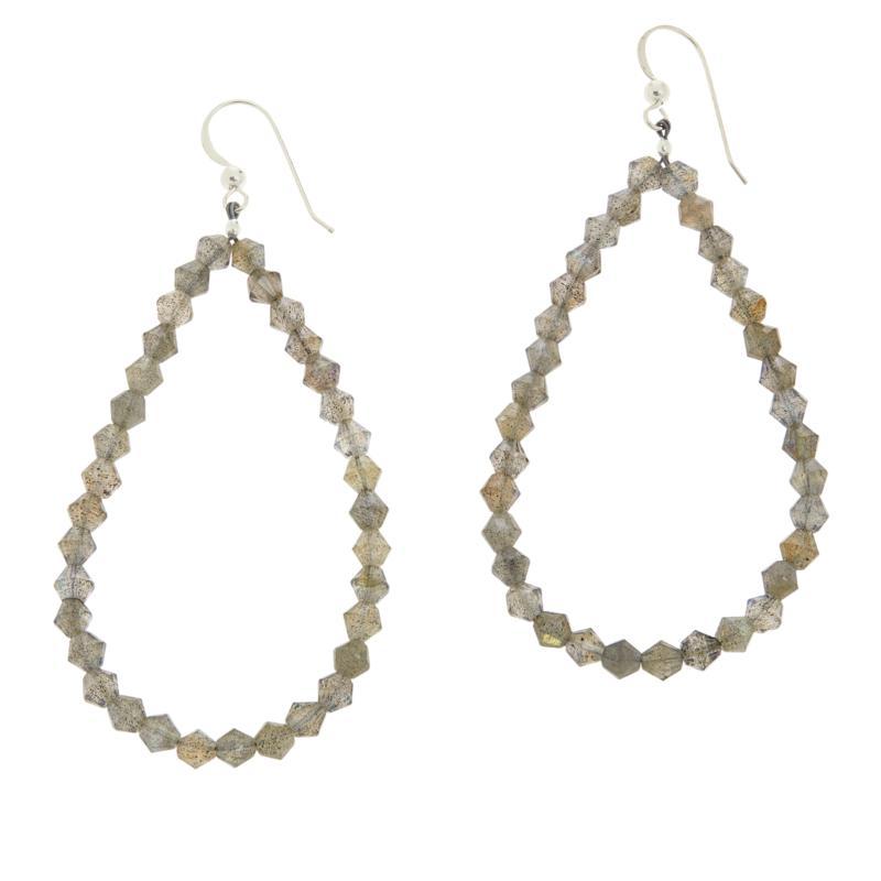 Jay King Sterling Silver Labradorite Bead Loop Drop Earrings