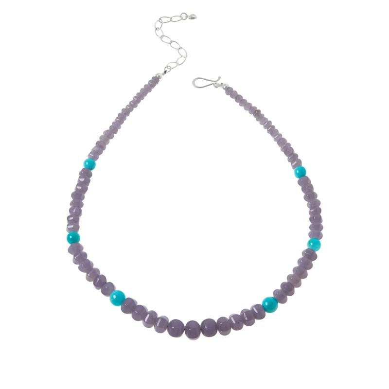 Jay King Sterling Silver Lepidolite and Amazonite Bead Necklace