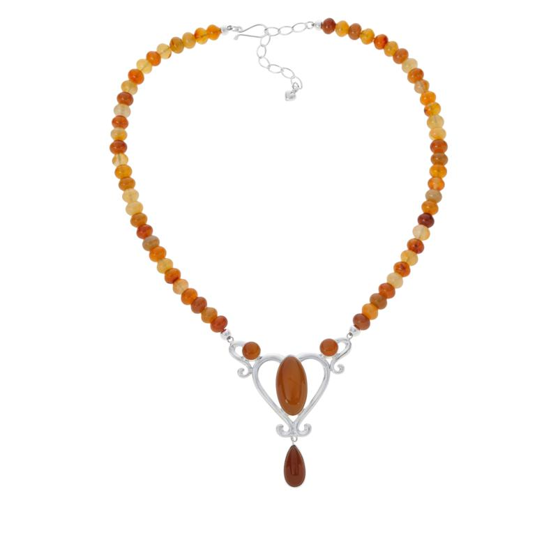 Jay King Sterling Silver Multi-Color Carnelian Heart Necklace