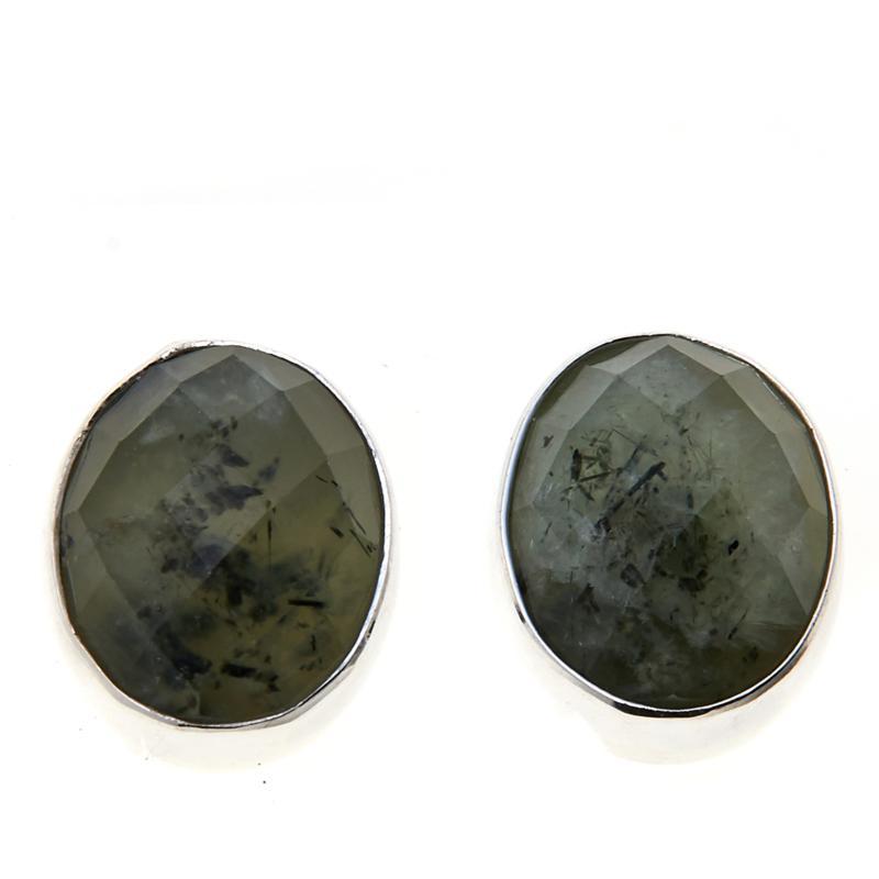 Jay King Sterling Silver Multi-Color Green Prehnite Oval Earrings