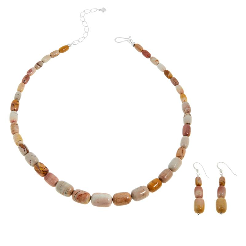 Jay King Sterling Silver Multi-Color Red Poppy Stone Jewelry Set