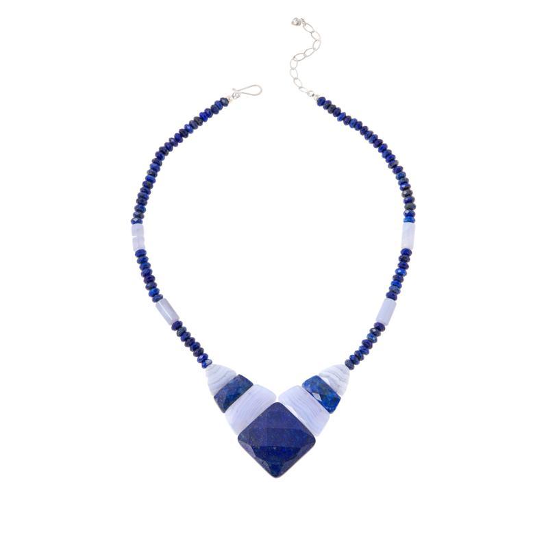 Jay King Sterling Silver Multi-Gemstone Reversible Necklace