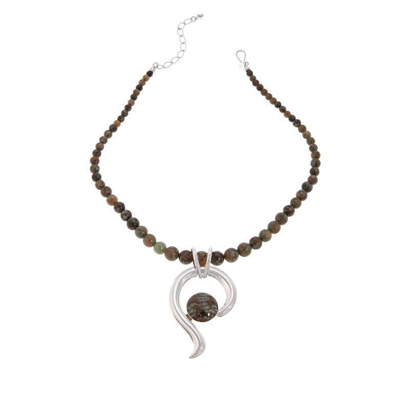 Jay King Sterling Silver Nunderite Pendant with Beaded Necklace