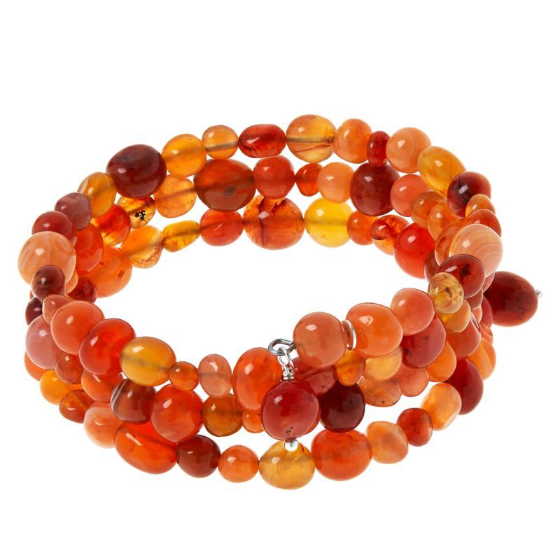 Jay King Sterling Silver Orange/Red Chalcedony Coil Wrap Bracelet