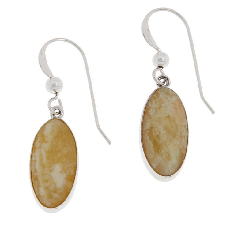 Jay King Sterling Silver Oval Yellow Opal Drop Earrings