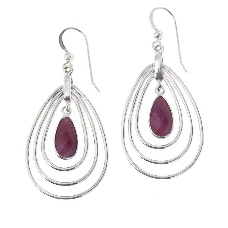 Jay King Sterling Silver Purple Sapphire Pear-Shape Drop Earrings