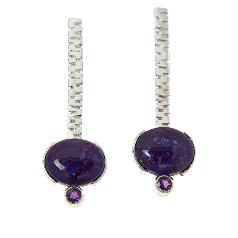 Jay King Sterling Silver Purple Turquoise and Amethyst Earrings