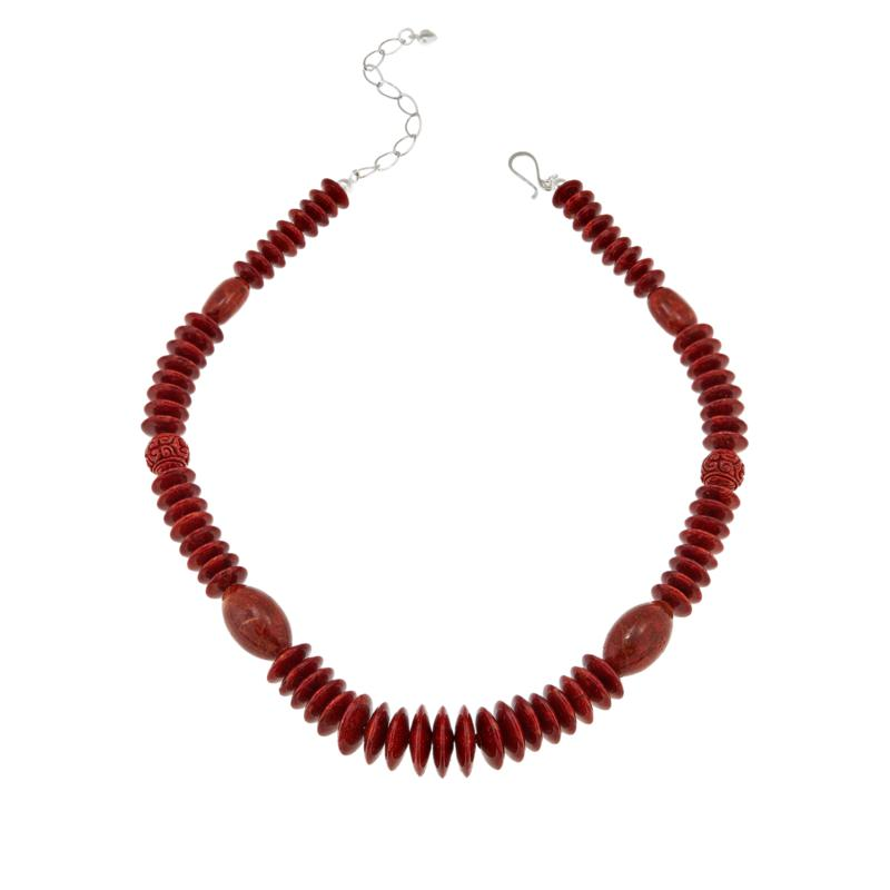Jay King Sterling Silver Red Coral Carved Bead Necklace