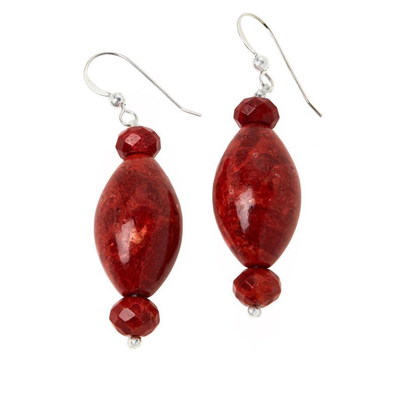 Jay King Sterling Silver Red Coral Drop Earrings