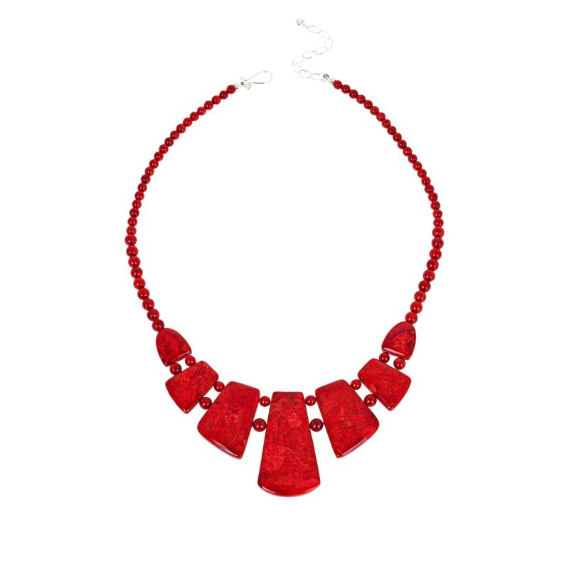 Jay King Sterling Silver Red Coral Necklace