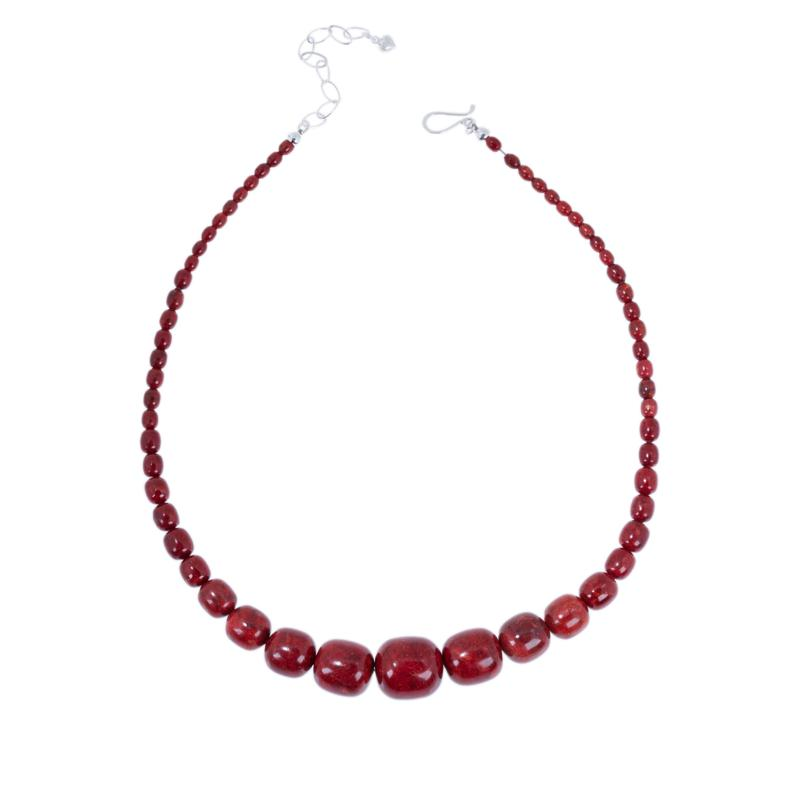 Jay King Sterling Silver Red Coral Nugget Necklace
