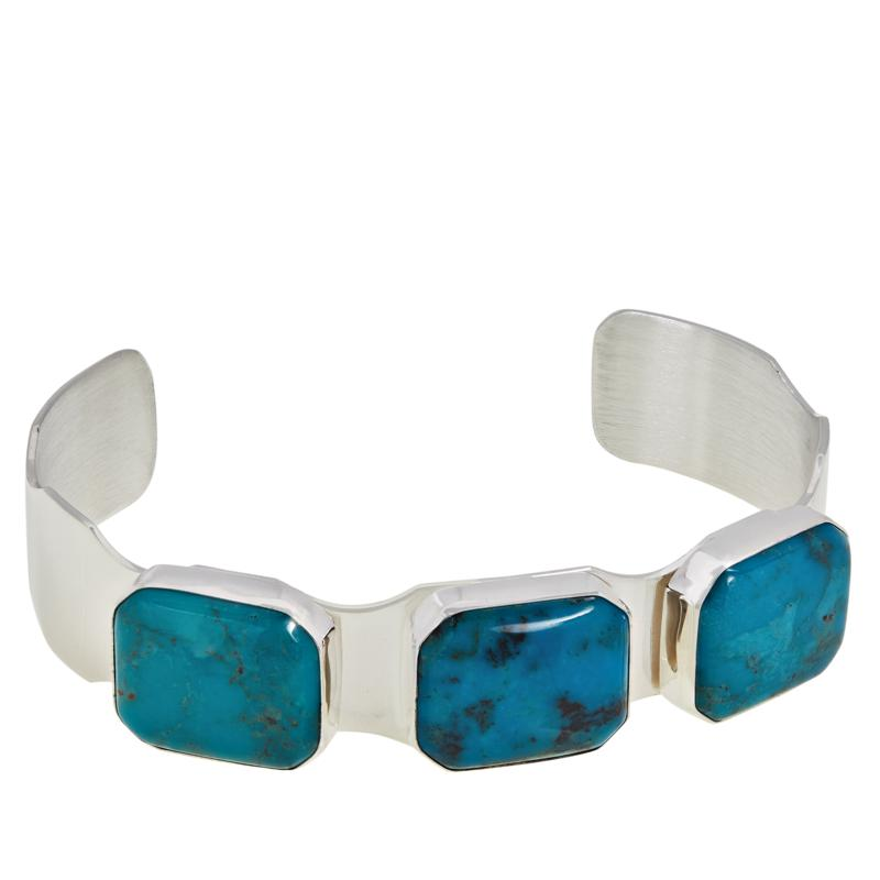 Jay King Sterling Silver Spider Web Turquoise 3-Stone Cuff Bracelet