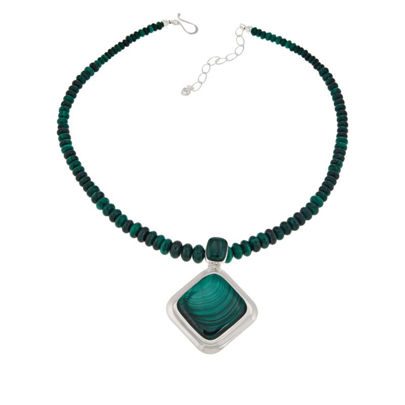 Jay King Sterling Silver Square Malachite Pendant and Beaded Necklace