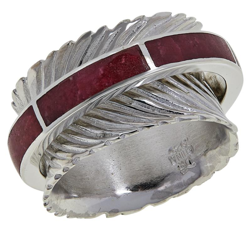 Jay King Sterling Silver Thulite Inlay Spinner Ring