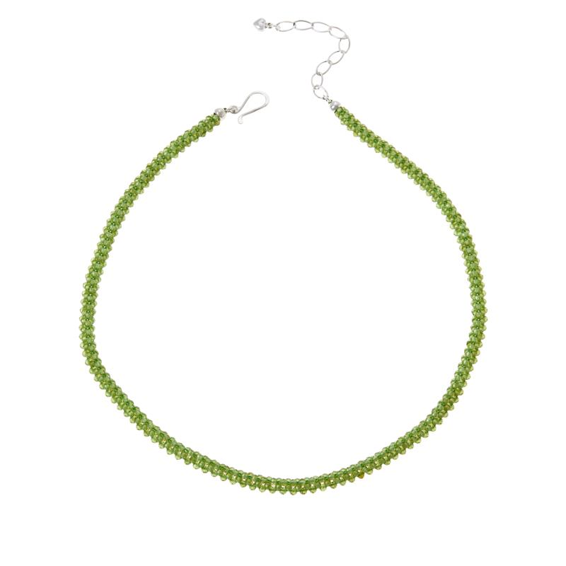 Jay King Sterling Silver Woven Peridot Bead Necklace