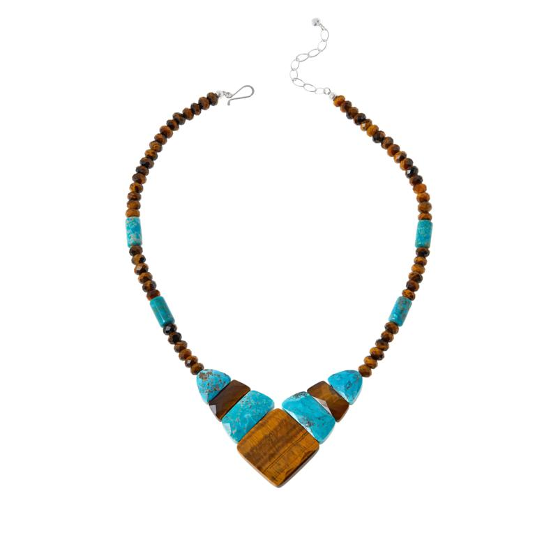 Jay King Tiger's Eye and Andean Turquoise Reversible Necklace