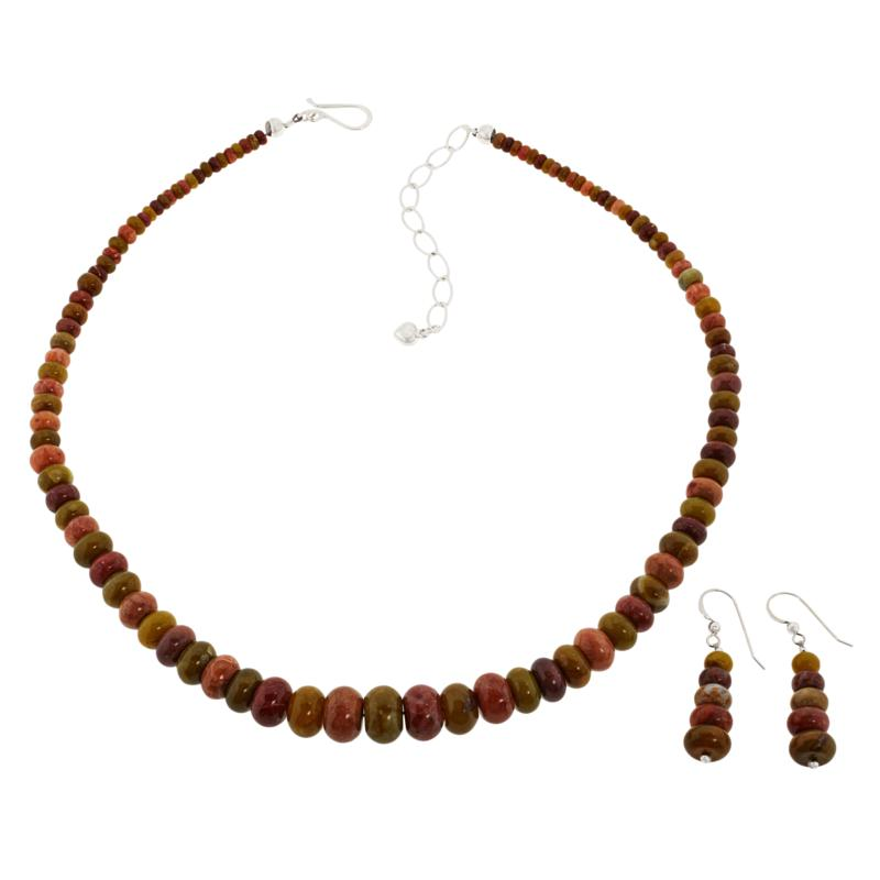 Jay King Volcanic Opal and Mexican Red Opal Earrings and Necklace Set