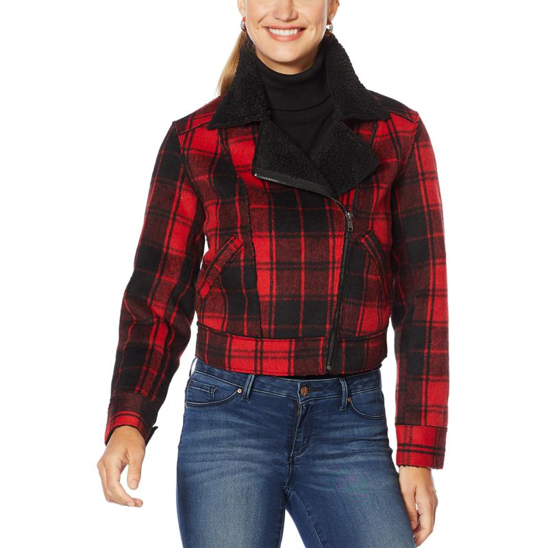 Jessica Simpson Woven Plaid Jacket with Faux Sherpa Detail