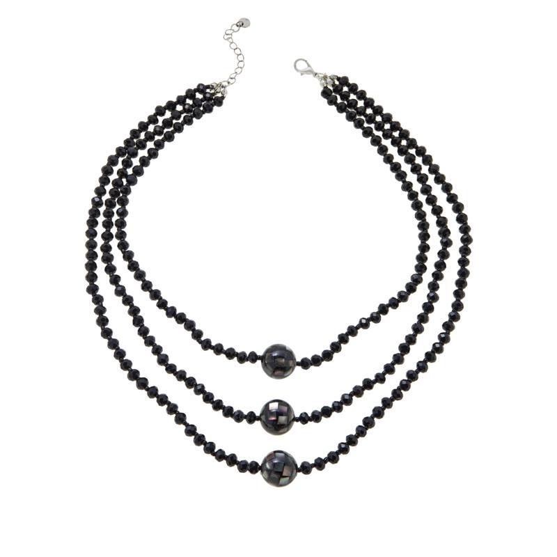 """JK NY 22"""" Shell Doublet 3-Strand Beaded Ball Necklace"""