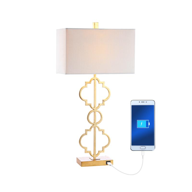 "Jonathan Y Selina 32"" Iron Ogee Trellis Modern LED USB Table Lamp"