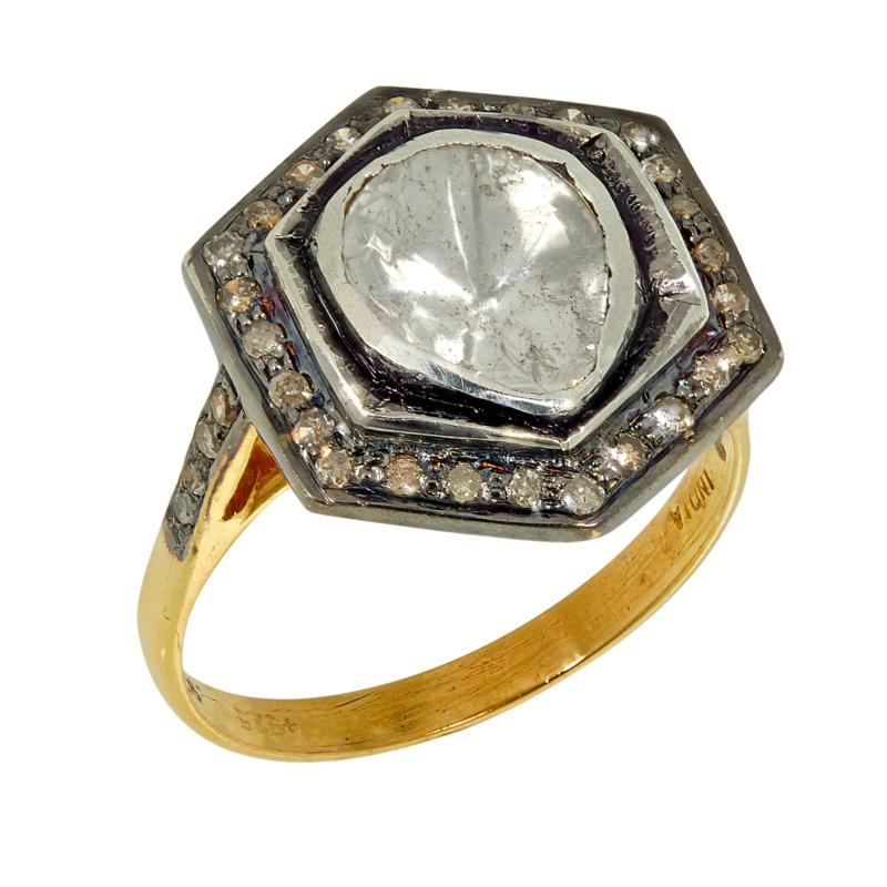 Joya 2-Tone Polki Diamond Halo-Style Ring
