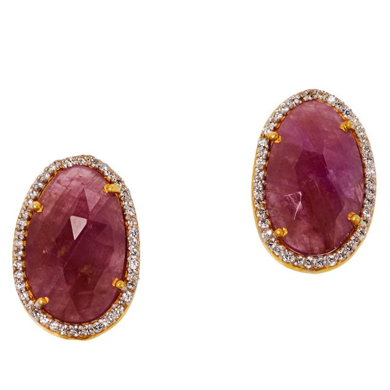 Joya Goldtone Sapphire and CZ Stud Earrings