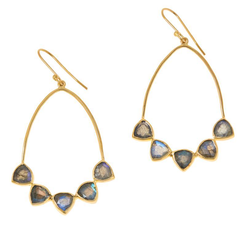 Joya Goldtone Sterling Silver Labradorite Multi-Stone Drop Earrings
