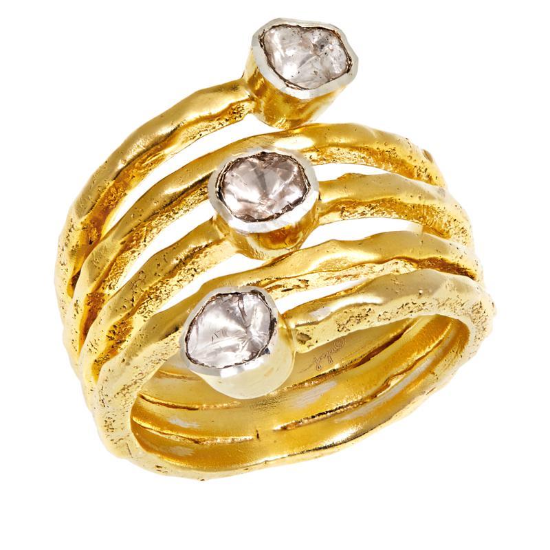 Joya Goldtone Sterling Silver Polki Diamond 3-Stone Wrap Ring