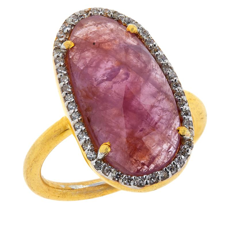Joya Goldtone Sterling Silver Sapphire and CZ Pavé Freeform Ring