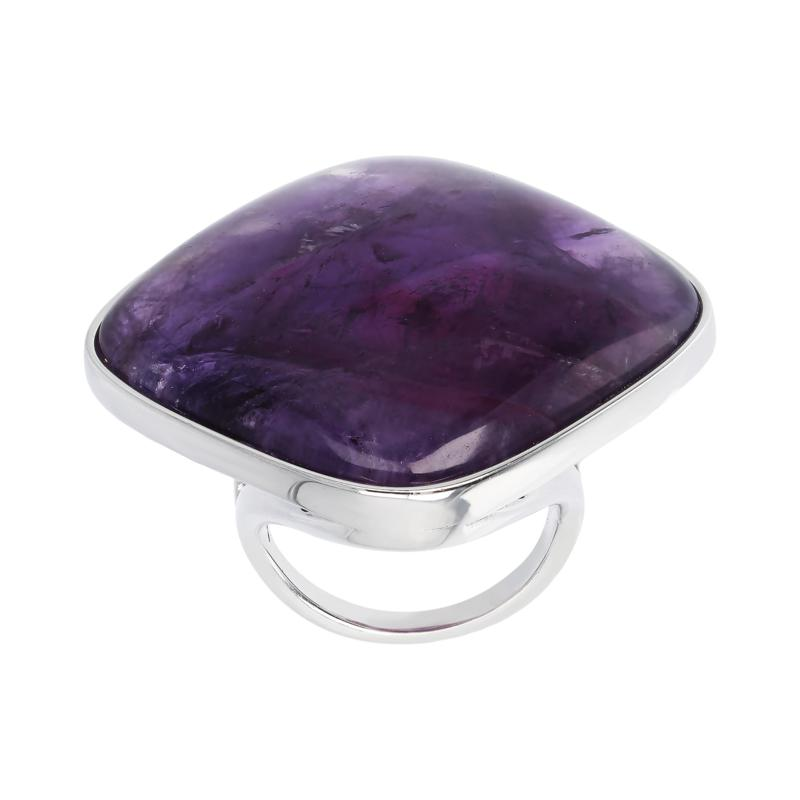 Joyelle Sterling Silver Lavender Amethyst Solitaire Ring