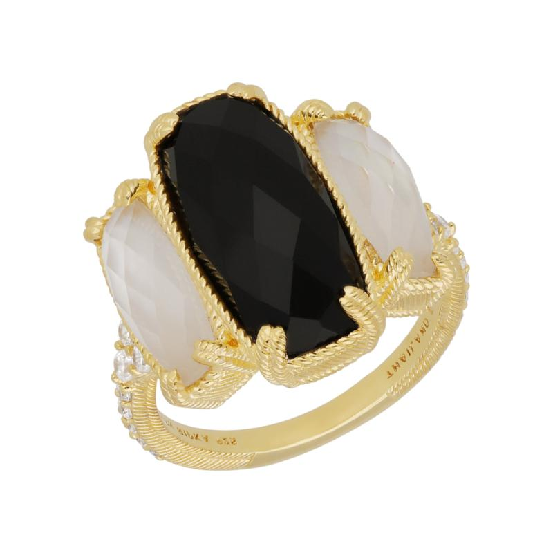 Judith Ripka 14K Gold Clad Onyx, Mother-of-Pearl and Diamonique® Ring