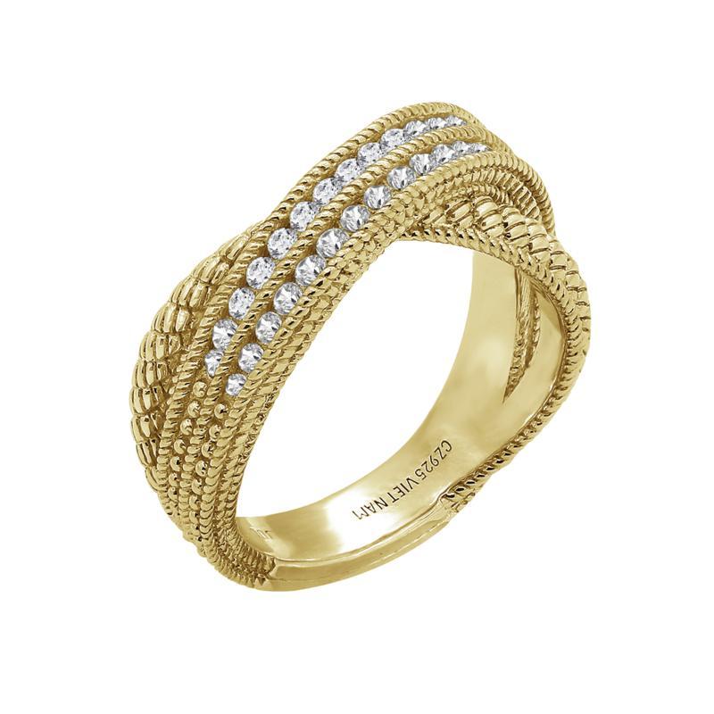 Judith Ripka Diamonique® Simulated Diamond Cross Over Band Ring