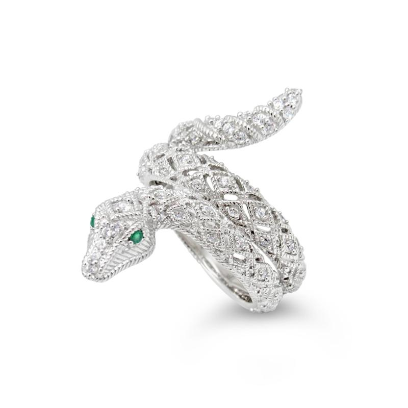 Judith Ripka Sterling Silver Diamonique® and Emerald Snake Ring