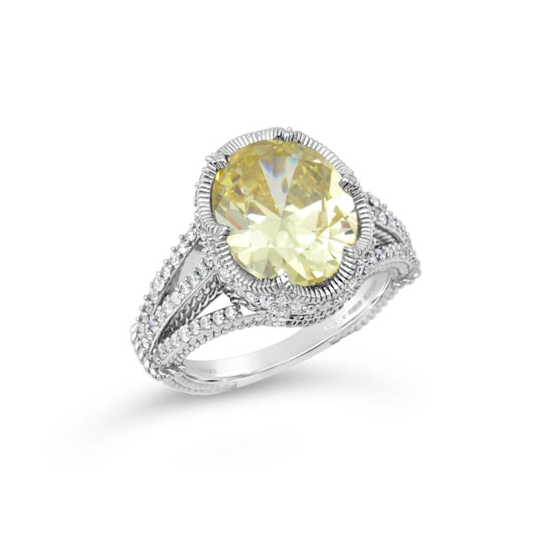Judith Ripka Sterling Silver Diamonique® Oval Canary Split Sides Ring