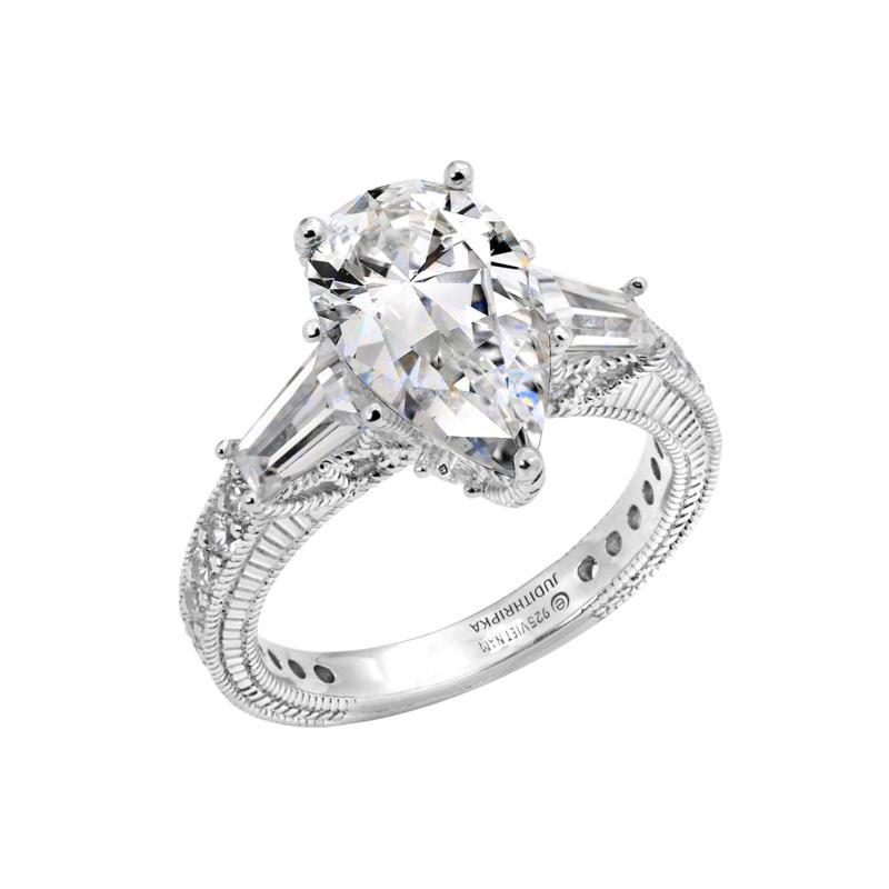 Judith Ripka Sterling Silver Diamonique® Pear Shape Ring