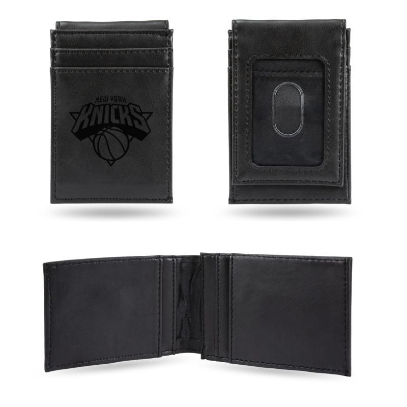 Knicks Laser-Engraved Front Pocket Wallet - Black