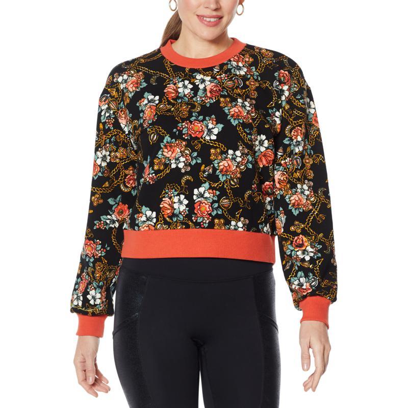 Laila Ali Floral Print Peached Fleece Sweatshirt