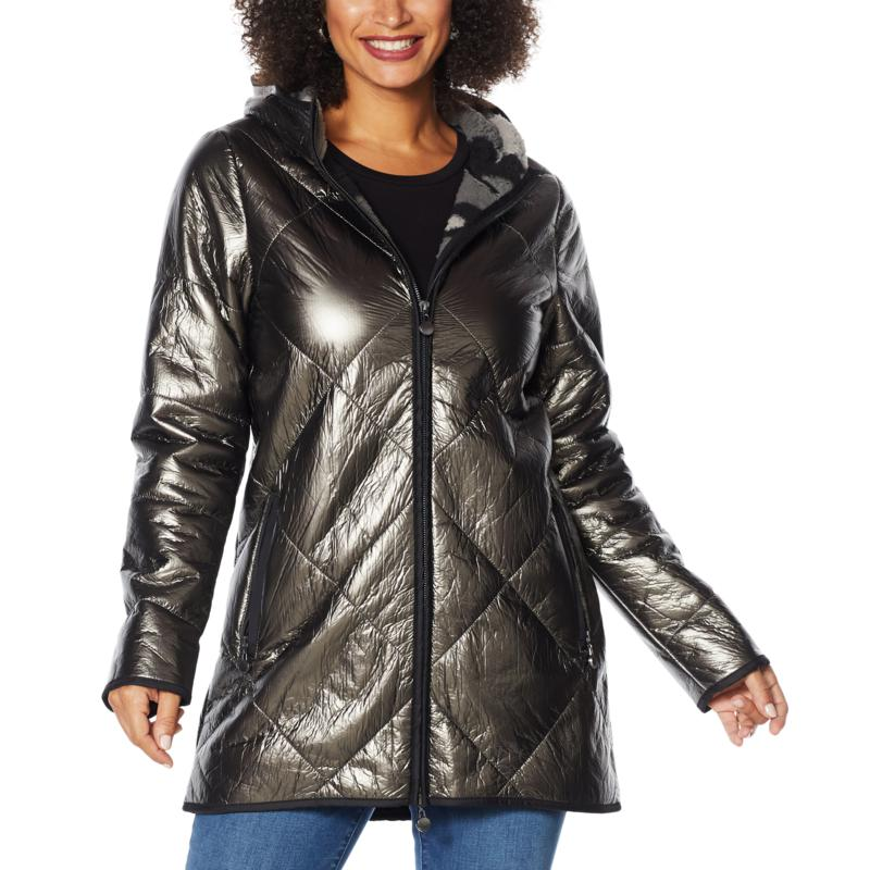 Laurier Diamond Quilted Metallic Coat with Faux Shearling Lining