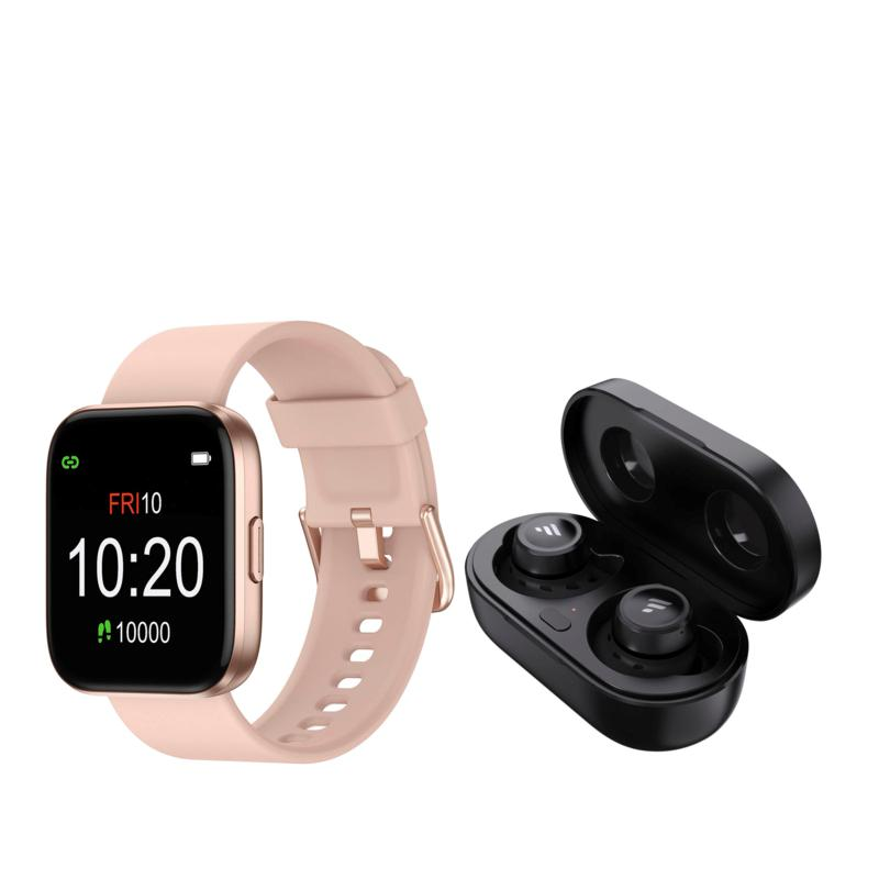 Letsfit IW1 Rose Gold Smartwatch with T20 Earbuds