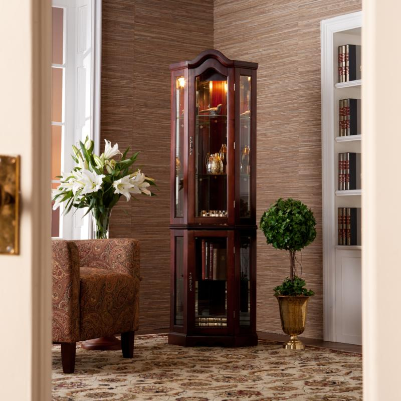 Lighted Corner Curio Cabinet with Mahogany Finish