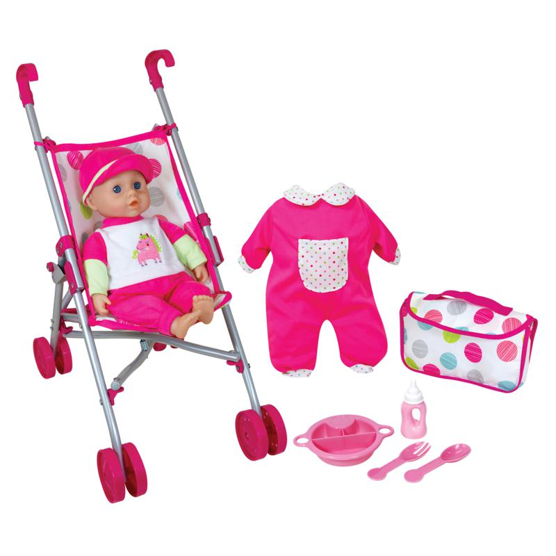 """Lissi Doll 13"""" Baby with Umbrella Stroller Set"""