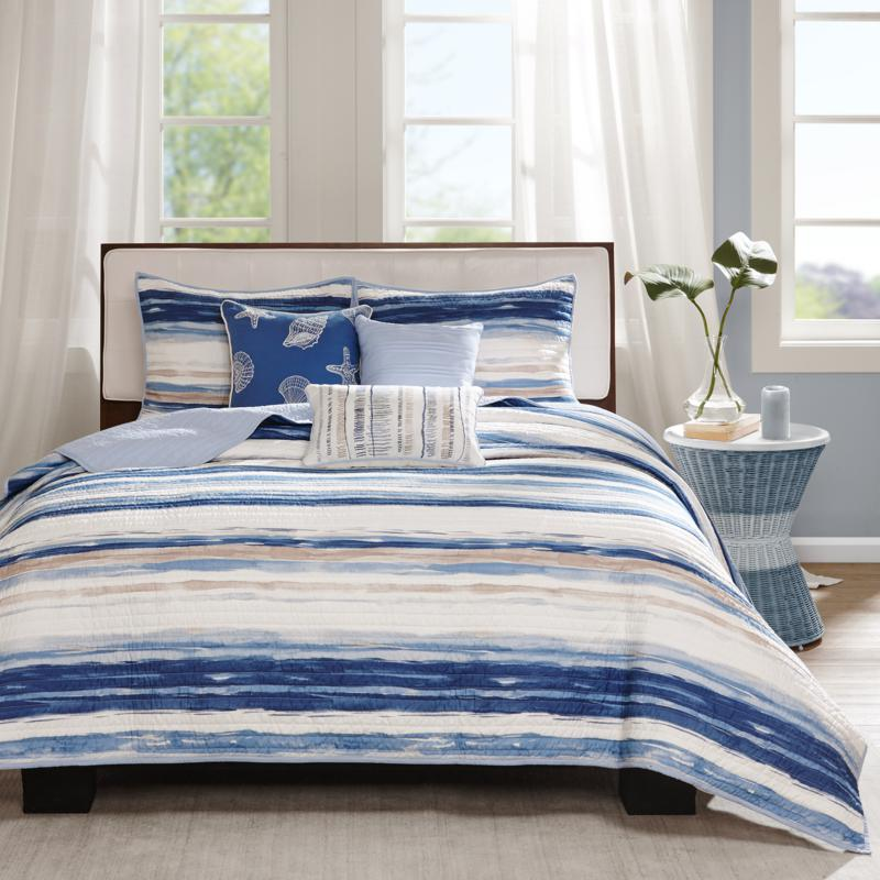 Madison Park Marina Blue 6pc Quilted Coverlet Set F/Q