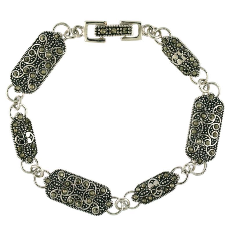 Marcasite Sterling Silver Rectangle-Link Line Bracelet